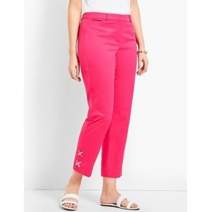 NWT Talbots Pink Gingham Lace-Up Perfect Crop Pant